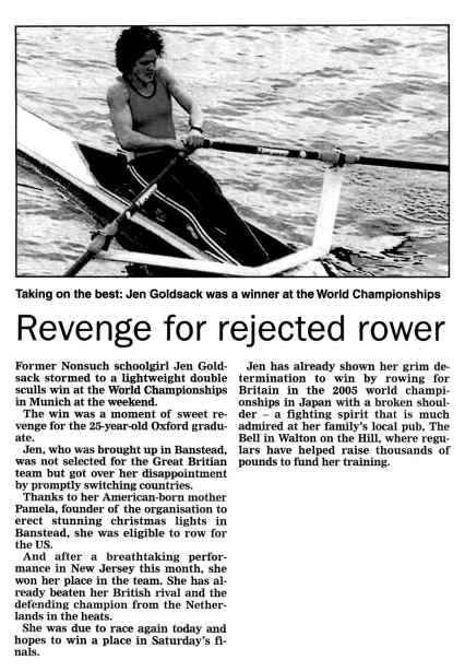 Article on Jen Goldsack Olympic Rower